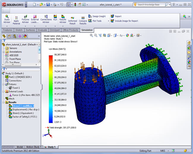 "The result ""Stresses von Mises"" in SolidWorks Simulation:"