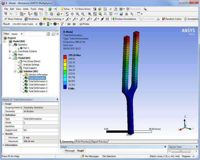First mode, Ansys WorkBench
