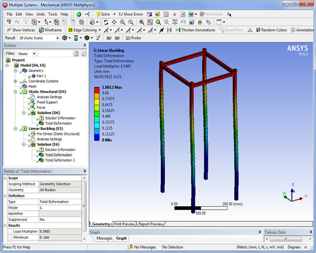 First buckling mode, Ansys WorkBench