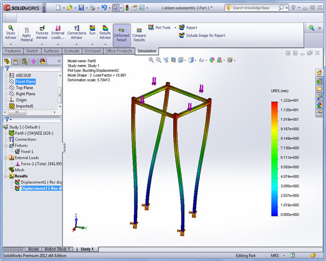 Third buckling mode, SolidWorks Simulation