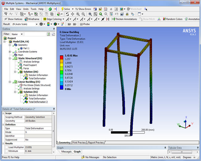 Third buckling mode, Ansys WorkBench