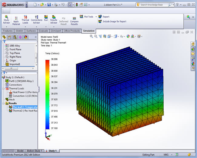 Temperature field, SolidWorks Simulation