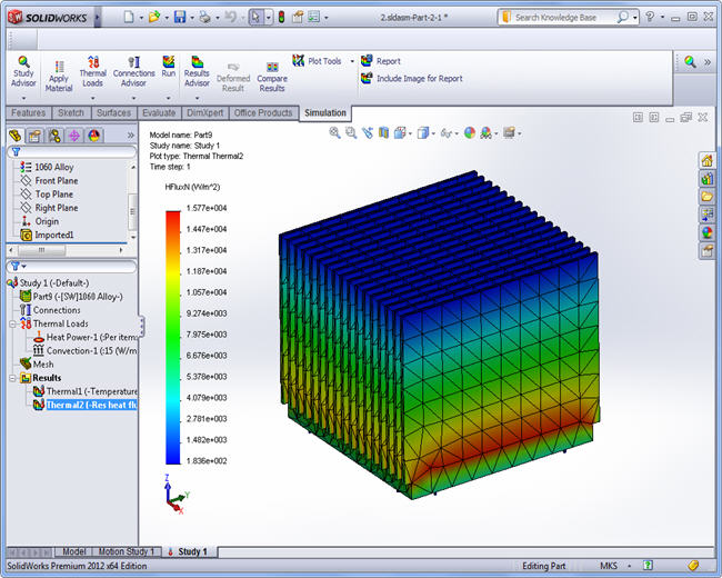 Thermal Flux, SolidWorks Simulation