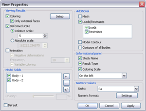 Options dialog of postprocessor window